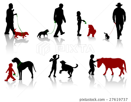 Silhouette of people with dogs. 27619737