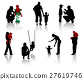 Silhouette of parents and children. Vector.  27619746