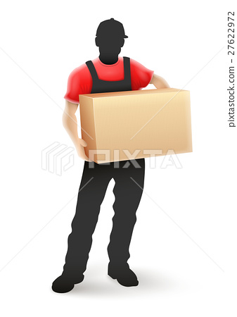 Delivery service man postman silhouette 27622972