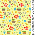 Gardening seamless pattern with garden tools 27623168
