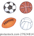 Various balls (soccer, rugby, basketball, valley) 27624814