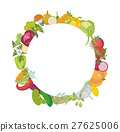 Vegetables round frame with space for text. Flat 27625006