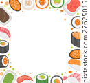 Sushi frame template with space for text. Japanese 27625015