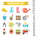 Gardening icon set, flat style. Garden and orchard 27625020