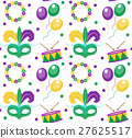 Mardi Gras Carnival seamless pattern with mask 27625517