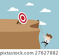 Businessman Climbing Cliff To Go To Target 27627882