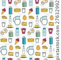 Dairy product seamless pattern. Modern, line 27632992
