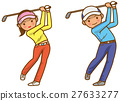 Golf swing image of male and female illustration 27633277