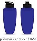 Blue Thermos bottle of Front and Side view. 27633651