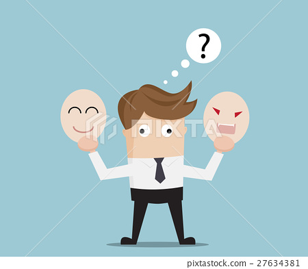 Businessman Confused Select Angry or Happy Mask 27634381