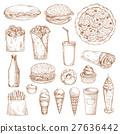 Fast Food sketch vector icons 27636442