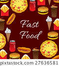 Fast Food meal and snacks vector poster 27636581