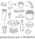 Fast Food snacks and drinks sketch vector icons 27636658