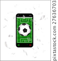 cracked screen smartphone with a football field an 27636703