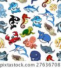 Cartoon sea animals, ocean fish seamless pattern 27636708
