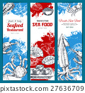 Seafood and fish food sketch banners set 27636709