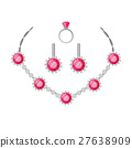 Jewelry Set Necklace, Ring and Earrings Isolated 27638909