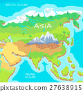 Asia Isometric Map with Natural Attractions 27638915