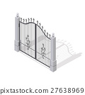 Iron Gate Opens and Closes from Middle Isolated 27638969