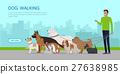 Dog Walking Banner. Man Walks with Puppies 27638985