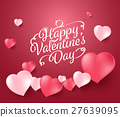Happy valentine's day with realistic heart. 27639095