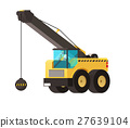 Wrecking ball crane, heavy machinery vector. 27639104