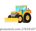 Yellow tractor. Agricultural transport. 27639107