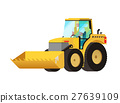 Yellow tractor. Agricultural transport.  27639109