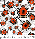 Robots color seamless pattern on white background. 27639278