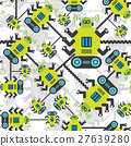 Robots color seamless pattern on white background. 27639280