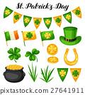Saint Patricks Day objects. Flag Ireland, pot of 27641911