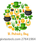 Saint Patricks Day greeting card. Flag Ireland 27641964