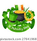 Saint Patricks Day greeting card. Flag Ireland 27641968