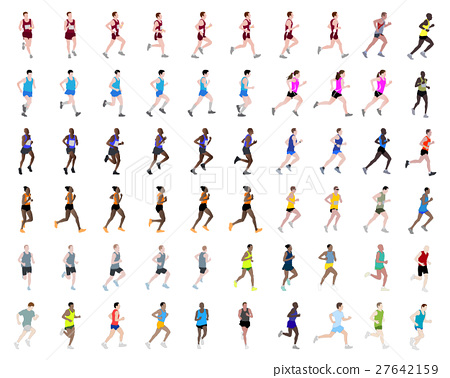 60 people running illustrations 27642159