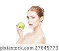 Portrait of a young woman holding a green apple 27645773