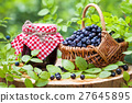 Jars of jam and basket with wild blueberries 27645895