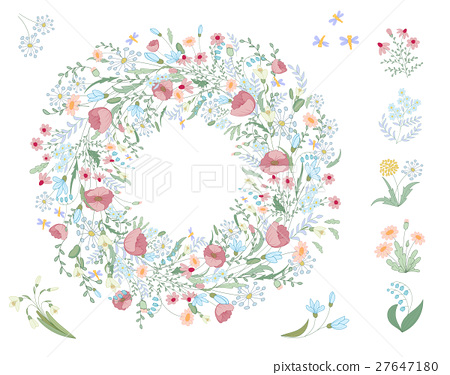 Detailed contour wreath with herbs, leaves and 27647180