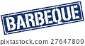 barbeque square grunge stamp 27647809