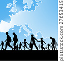 immigration people on europe map background 27653415