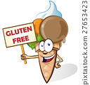 Ice cream cartoon with gluten free signboard 27653423