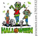 halloween background with zombie 27653432