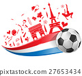 FRANCE flag and symbol  with soccer ball 27653434