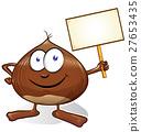 chestnut cartoon with signboard   27653435