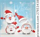 fun santa claus cartoon on snow background 27653438
