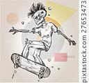 skeleton skater  on abstract retro background 27653473