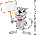 funny cat cartoon with signboard 27653478