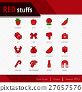 Red stuffs vector icons set on white background.  27657576