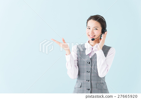 콜센터 여성 (파란색 배경) 27665920