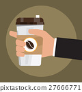 cartoon hand hold paper cup or take-home coffee 27666771