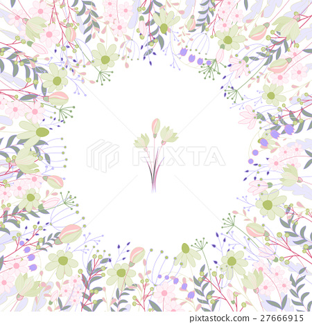 Square frame with contour roses and herbs on white 27666915